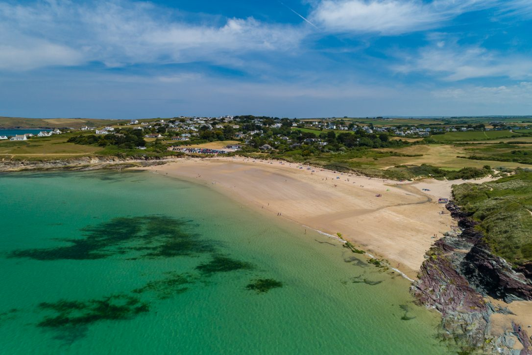 Aerial view of Daymer Bay, North Cornwall