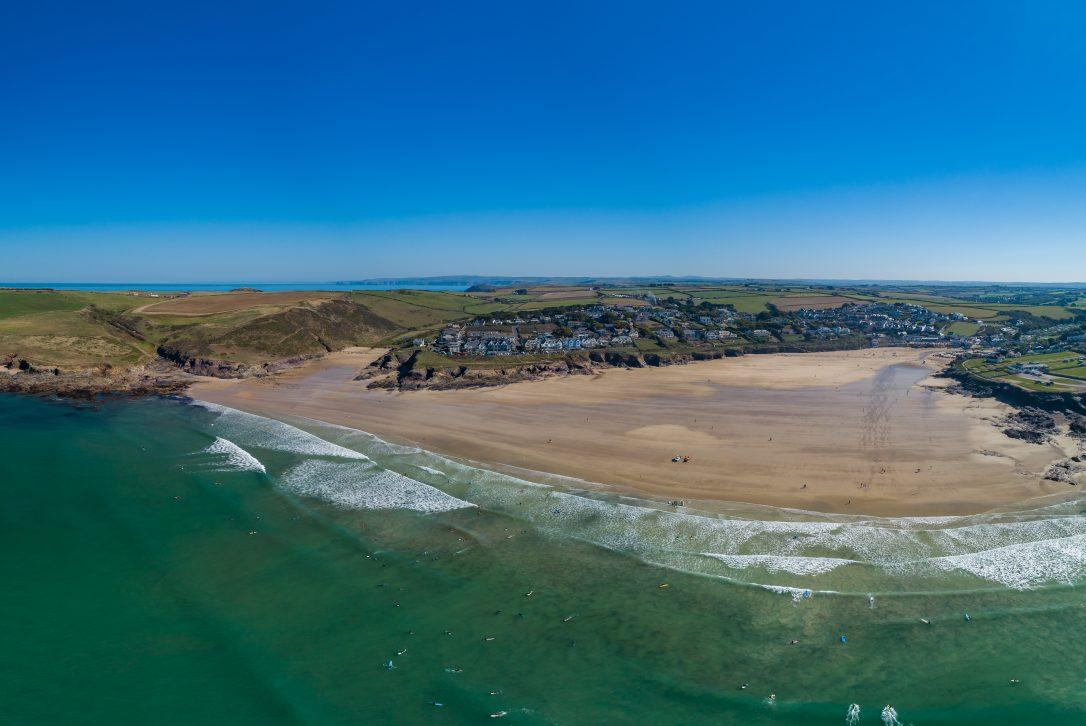 Aerial view of Polzeath Beach, North Cornwall