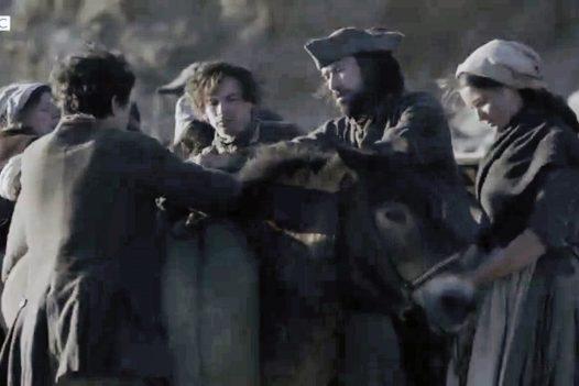 The crew with the pony on Poldark