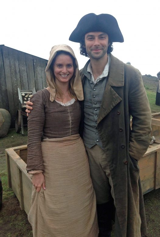 Aidan Turner with Katy, an extra in all five seasons of Poldark