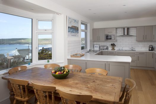 Sea view from Penroy, a self-catering holiday home in Polzeath, North Cornwall