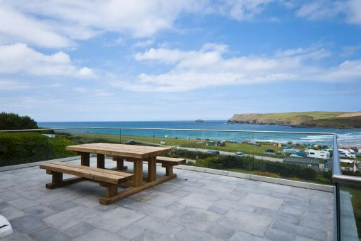 Sea view from Seaview, a self-catering holiday home in Polzeath, North Cornwall