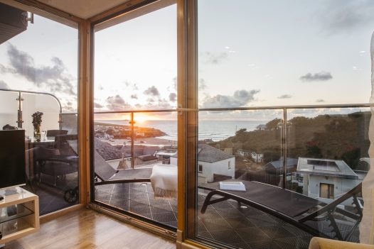 Sea view from Solan, a self-catering holiday home in Polzeath, North Cornwall