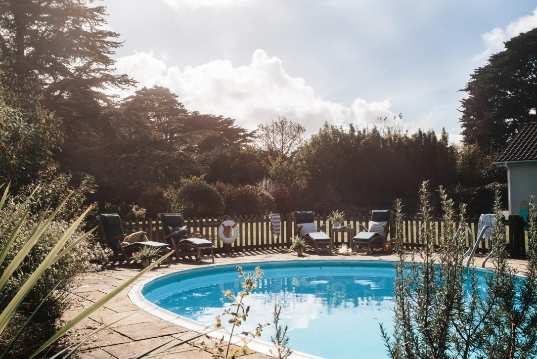 Swimming pool at Half Way Tree, a self-catering holiday home in Rock, North Cornwall