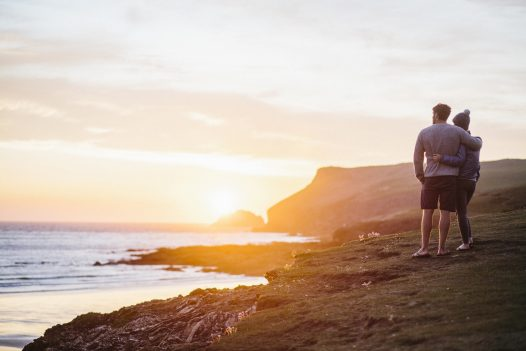 The headland above Baby Bay is a romantic spot to watch the sunset