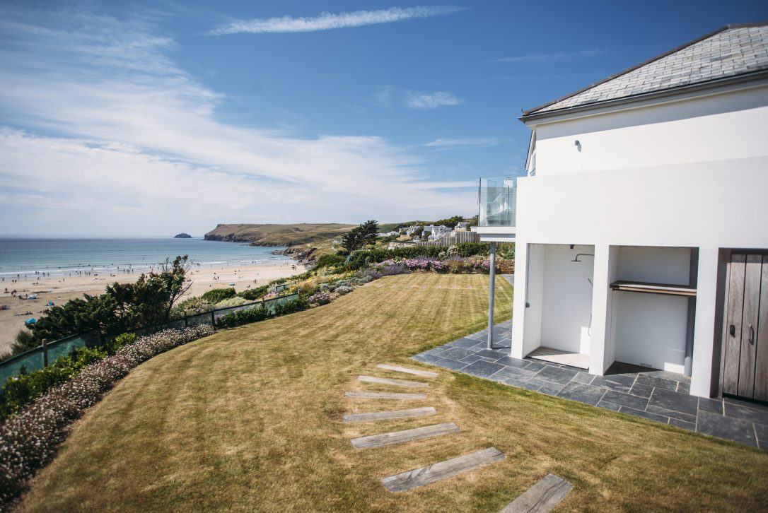 Sea views from the garden at Carn Mar, a self-catering holiday house above Polzeath beach, North Cornwall