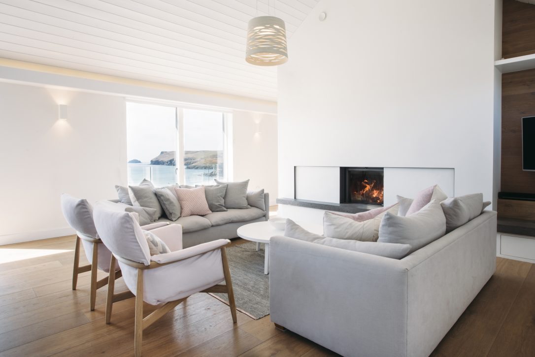 Living space at Carn Mar, a self-catering holiday home in Polzeath, North Cornwall
