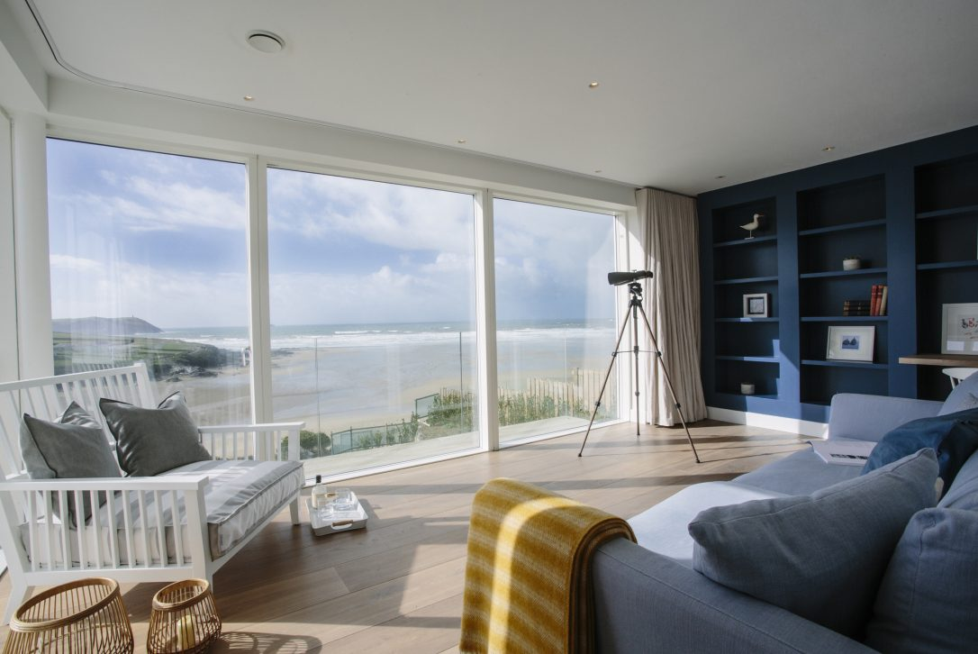 Sea view from the reading room at Carn Mar, a self-catering holiday home in New Polzeath, North Cornwall