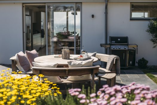 Morning terrace at Carn Mar, a self-catering holiday home in New Polzeath, North Cornwall