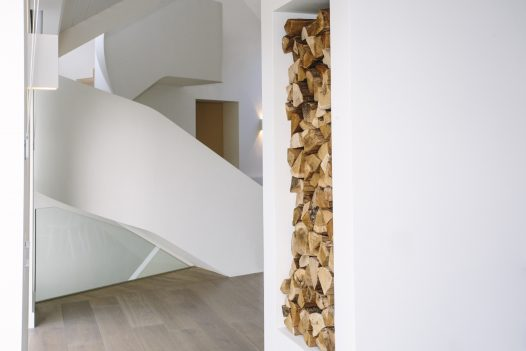 Architect designed staircase at Carn Mar, a self-catering holiday house in Polzeath, North Cornwall