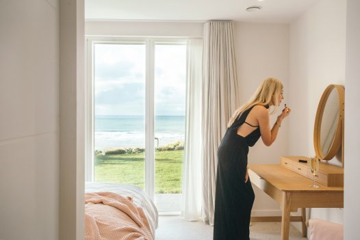 Bedroom at Carn Mar, a self-catering holiday property above Polzeath beach, North Cornwall