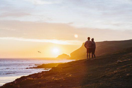 Romantic sunset scene at New Polzeath, North Cornwall