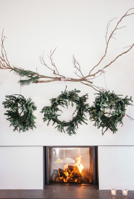 The fireplace at Carn Mar decorated for Christmas