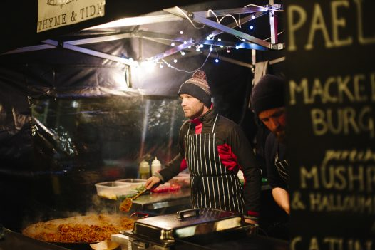 Food stalls at Padstow Christmas Festival, Padstow, North Cornwall