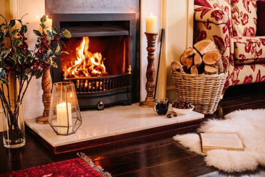 Fireplace at Rockhaven Manor, a self-catering holiday home in Rock, North Cornwall