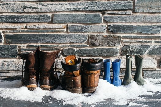 Boots in the snow in Cornwall
