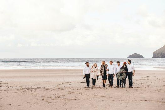 Group of friends on Polzeath beach