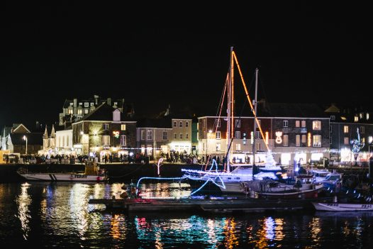 Christmas lights in the harbour at Padstow