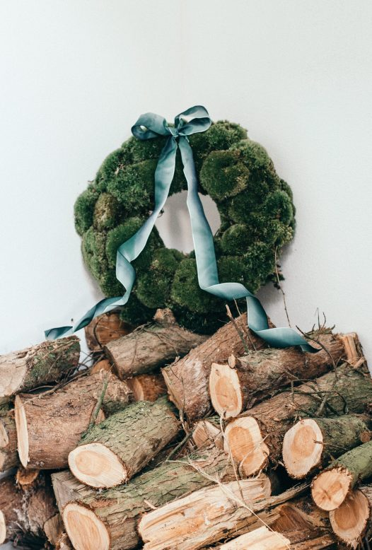 A moss Christmas wreath
