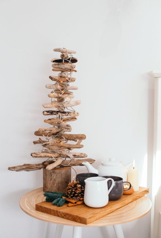 A driftwood Christmas tree inspired by the coast