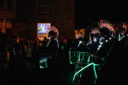 Musicians on the streets of Truro during the City of Lights 2018