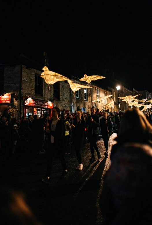 Lanterns in the Truro City of Light procession 2018 talking place in Cornwall