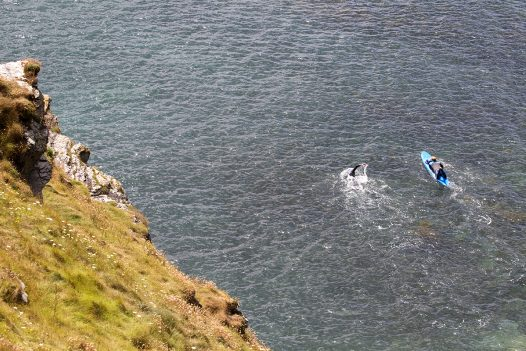 Swimmers at Port Gaverne, North Cornwall