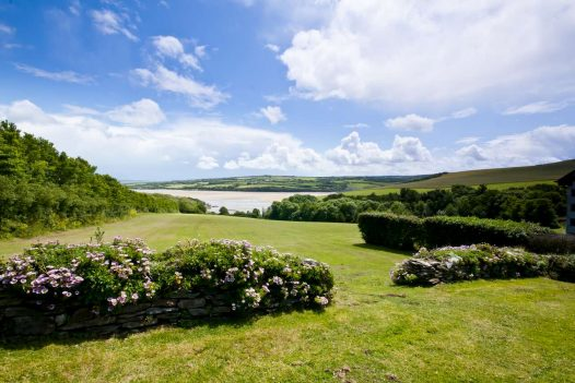 The view down to the Camel Estuary at Cant Farm, a private estate on the banks of the estuary