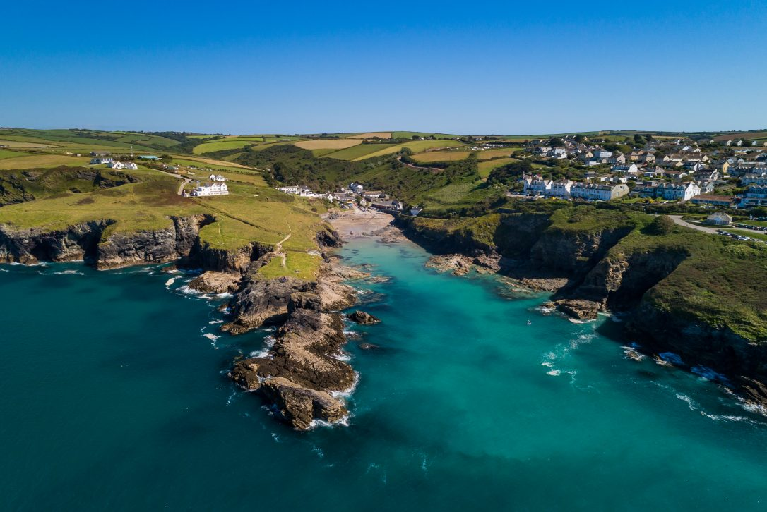 An aerial view of Port Gaverne, located next to Port Isaac in North Cornwall