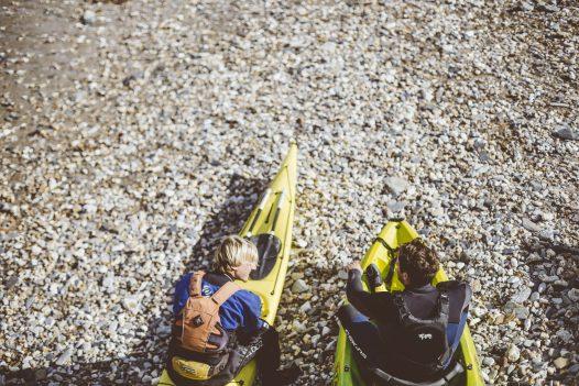 Kayakers at Port Gaverne, North Cornwall