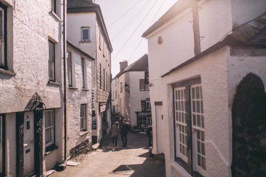 The narrow streets and whitewashed cottages of Port Isaac