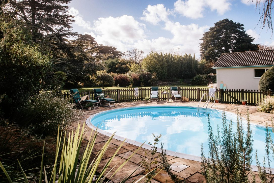 The beautiful mature garden at Half Way Tree, a self-catering holiday home in Rock, North Cornwall