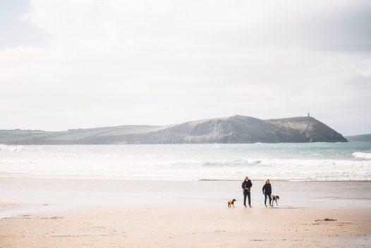 Dog walkers on Polzeath beach, North Cornwall