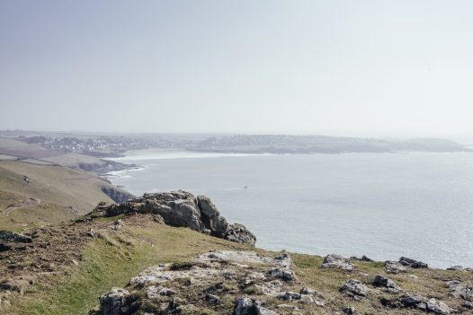 View of Polzeath from Pentire Point, North Cornwall