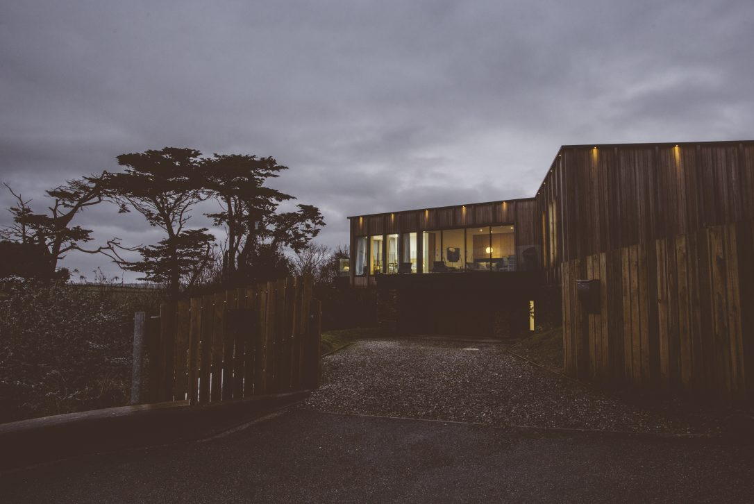 Night time view of Dry Creek House, a self-catering holiday house in Polzeath, North Cornwall
