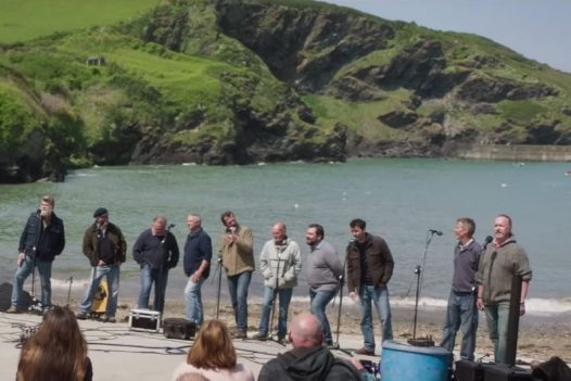 Fisherman's Friends gig in Port Isaac, North Cornwall