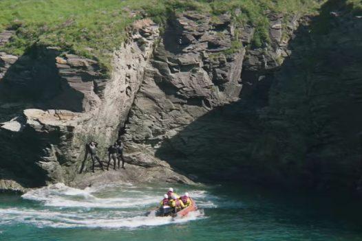 A rescue scene in the Fisherman's Friends film at Port Gaverne