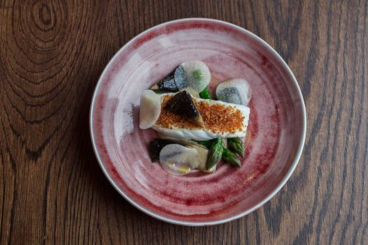 A seafood dish at Restaurant Nathan Outlaw is located in Port Isaac, North Cornwall