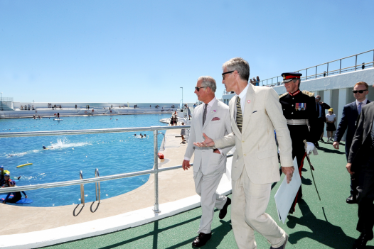 Prince Charles re-opening the Jubilee Pool in Penzance, Cornwall