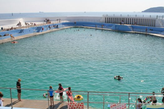 View across the lido pool in Penzance