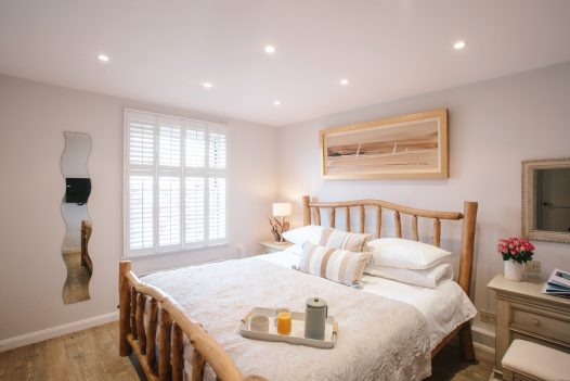 The master bedroom at Pebble Rock, perfect for a Valentine's Day break in North Cornwall