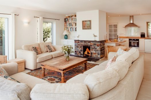 Lounge at Sylarks a self-catering holiday home in Daymer Bay, North Cornwall, available on a low occupancy rate.