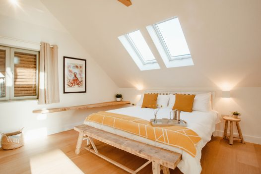 Bedroom at Fiddlesticks a self-catering holiday home in Rock, North Cornwall, available on a low occupancy rate.