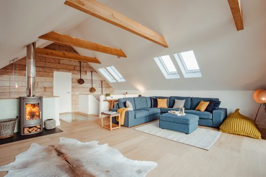 Lounge at Fiddlesticks a self-catering holiday home in Rock, North Cornwall, available on a low occupancy rate.