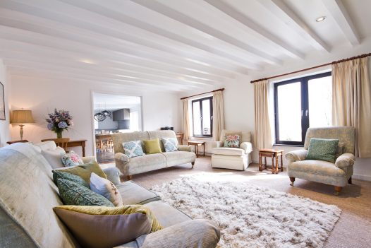 The lounge at The Farmhouse, a self-catering holiday home in Rock, North Cornwall