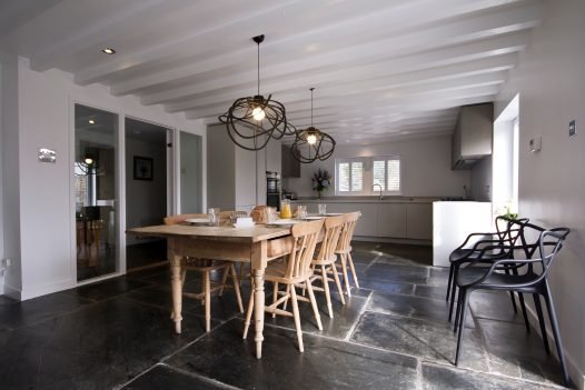 The kitchen/diner at The Farmhouse, a self-catering holiday home in Rock, North Cornwall