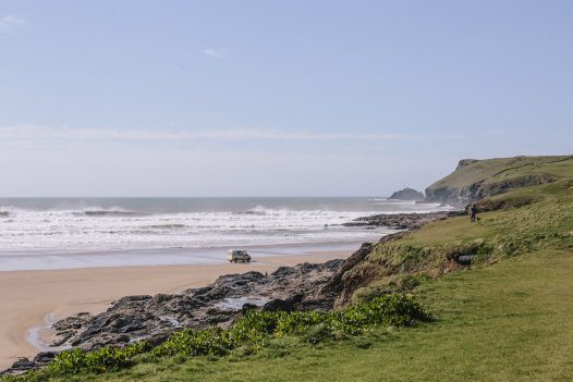View of Polzeath Beach from cliffs at New Polzeath, North Cornwall