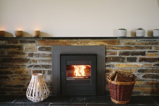 Fireplace at The Linhaye, a self-catering holiday home in Port Isaac, North Cornwall