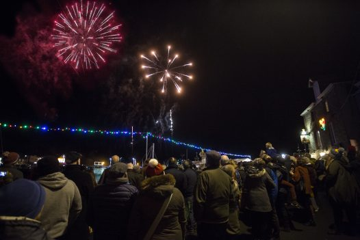 Fireworks over the Camel Estuary in North Cornwall