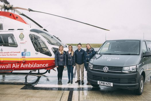 The Latitude50 team donate to the Cornwall Air Ambulance New Heli Appeal